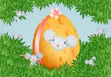 Uova del formaggio di Pasqua con il topo Fotografia Stock Libera da Diritti