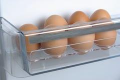 Uova del pollo nel frigorifero Immagini Stock Libere da Diritti