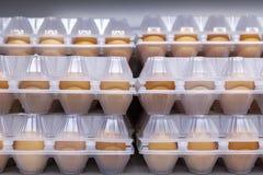 Uova del pollo nell'imballaggio di plastica Front View immagini stock