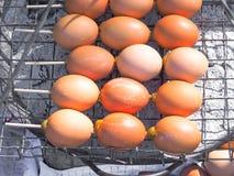 Uova della griglia sulla stufa Fotografia Stock Libera da Diritti