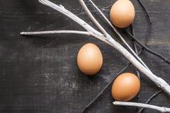 Uova della primavera su un fondo strutturato Immagini Stock