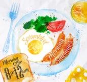 Uova della salsiccia degli acquerelli della prima colazione Immagine Stock Libera da Diritti