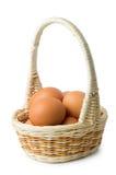 Uova di Brown in canestro di vimini con la maniglia lunga Immagine Stock