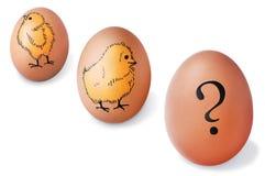 Uova di Brown con i polli ed il punto interrogativo dipinti Immagine Stock