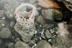 Uova di ebollizione in sorgenti di acqua calda fotografia stock