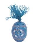 Uova di legno blu di Pasqua vertital Fotografia Stock Libera da Diritti