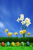 Uova di Pasqua Accumulazione e fiori Immagine Stock