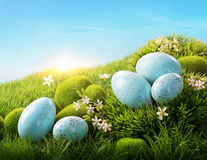 Uova di Pasqua blu fotografie stock libere da diritti