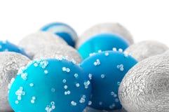 Uova di Pasqua Blu e d'argento Fotografie Stock Libere da Diritti