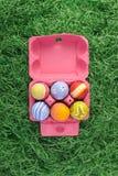 Uova di Pasqua In casella dentellare Fotografia Stock Libera da Diritti