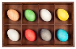 Uova di Pasqua In casella di legno Immagine Stock