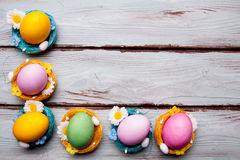 Uova di Pasqua In cestini Immagini Stock