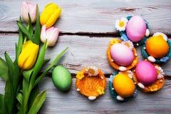 Uova di Pasqua In cestini Fotografia Stock