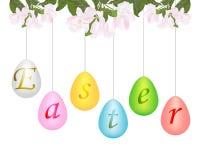 Uova di Pasqua che appendono su una corda dal ramo di un albero un app illustrazione vettoriale