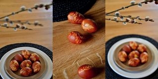 Uova di Pasqua colorate dalle coperture della cipolla Fotografie Stock