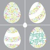 Uova di Pasqua con differenti decorazioni floreali Fotografia Stock Libera da Diritti