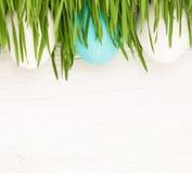 Uova di Pasqua Con erba Fotografie Stock Libere da Diritti