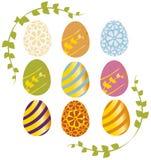 Uova di Pasqua Con gli angoli floreali Fotografia Stock Libera da Diritti