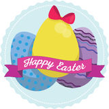 Uova di Pasqua Con i disegni ed i nastri Fotografia Stock Libera da Diritti