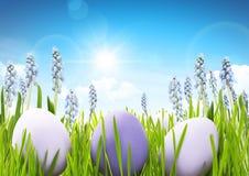 Uova di Pasqua Con i fiori Immagini Stock