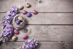 Uova di Pasqua Con i fiori della molla Immagini Stock Libere da Diritti
