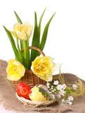 Uova di Pasqua Con i tulipani gialli Fotografia Stock
