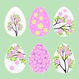 Uova di Pasqua con l'illustrazione stabilita di vettore del modello di fiore della molla Immagini Stock Libere da Diritti