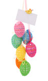 Uova di Pasqua Con la cartolina d'auguri Immagine Stock