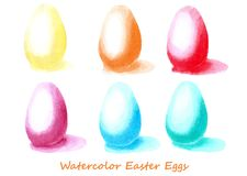 Uova di Pasqua con le ombre insieme dell'acquerello Progetti gli elementi per fondo, l'insegna, progettazione di carta di festa Immagine Stock