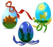Uova di Pasqua con le siluette degli animali Fotografie Stock Libere da Diritti