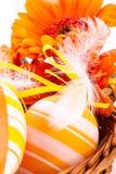 Uova di Pasqua decorate gialle Colourful Fotografia Stock Libera da Diritti
