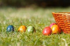 Uova di Pasqua decorate nell'erba Fotografia Stock Libera da Diritti
