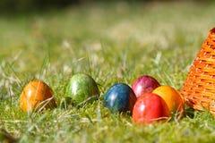 Uova di Pasqua decorate nell'erba Immagine Stock