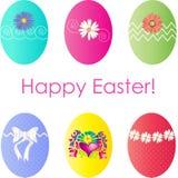 6 uova di Pasqua decorative Immagine Stock Libera da Diritti