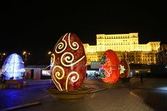 Uova di Pasqua decorative nella notte Immagine Stock Libera da Diritti