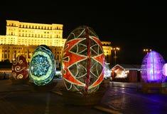 Uova di Pasqua decorative nella notte Immagini Stock Libere da Diritti