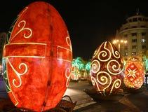 Uova di Pasqua decorative nella notte Fotografia Stock