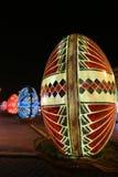 Uova di Pasqua decorative nella notte Immagini Stock