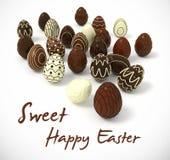 Uova di Pasqua del cioccolato su fondo bianco Immagine Stock