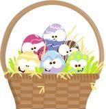 Uova di Pasqua Del fumetto in cestino Fotografia Stock Libera da Diritti