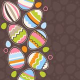Uova di Pasqua del wirh della cartolina d'auguri Fotografia Stock