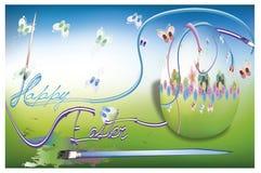 Uova di Pasqua della pittura con la farfalla Fotografia Stock