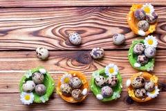 Uova di Pasqua della quaglia Immagini Stock