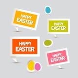 Uova di Pasqua di carta di vettore, etichette, etichette messe Immagini Stock