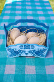 Uova di Pasqua di legno in canestro blu Immagine Stock Libera da Diritti