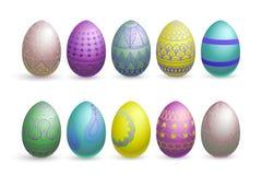 Uova di Pasqua di scintillio su un fondo bianco Immagine Stock Libera da Diritti