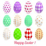 uova di Pasqua di vettore 3D impostate con le ombre Immagine Stock