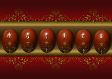 Uova di Pasqua dipinte con un modello dell'oro Fotografia Stock Libera da Diritti