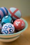 Uova di Pasqua dipinte a mano Fotografie Stock Libere da Diritti