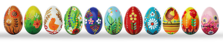 Uova di Pasqua dipinte a mano isolate su bianco Fotografia Stock